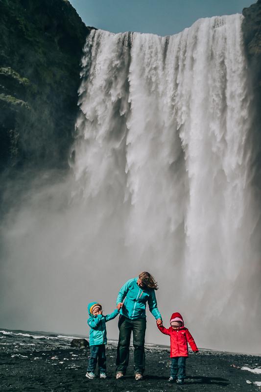 Skogafoss with kids